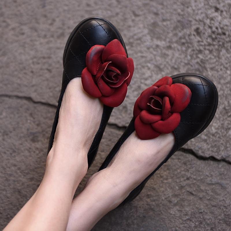 Здесь можно купить   Artmu Red Wedge Women Shoes,Flowers Vintage Handmade Artmu Leather Shoes Women Female Flower Wedge Retro Genuine Leather Обувь