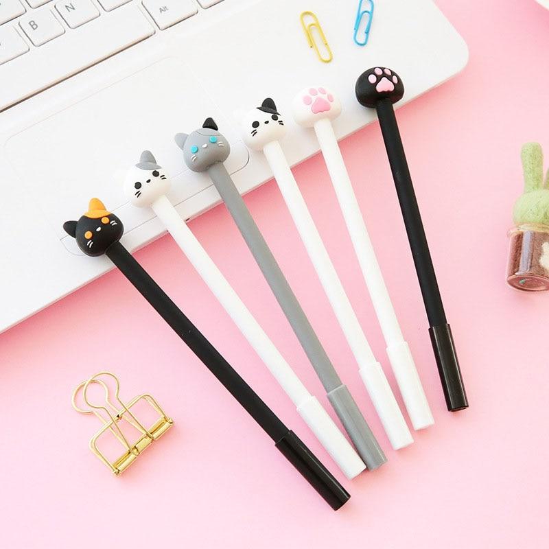 1 Pc 0.5mm Cute Cat Gel Pen Papelaria Cartoon Kawaii School Supplies Student Stationery Black Ink Pen