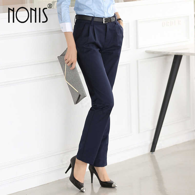 1063b505634 Nonis Full length professional business Formal pants women trousers girls slim  work wear office career plus