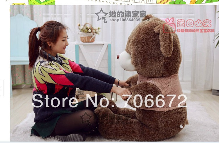 New stuffed khaki sweater teddy bear Plush 180 cm Doll 70 inch Toy gift wb4232 stuffed animal 44 cm plush standing cow toy simulation dairy cattle doll great gift w501