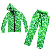 Kids Green Pattern Full Set Pullover Cotton And Trousers Sweatshirt Minecraft Pattern Children Clothes Hoodie Gift