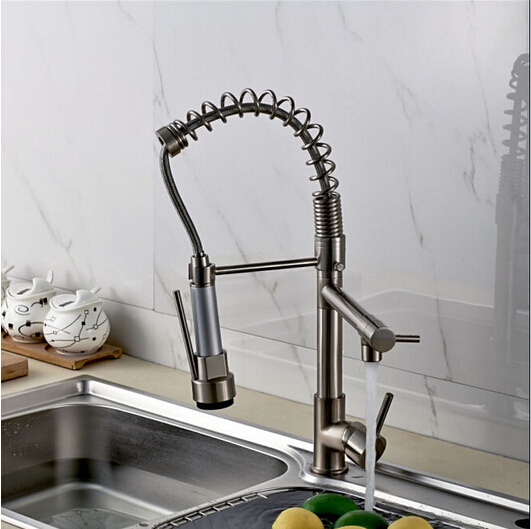 Brushed Nickel Single Handle Pull down Spray Kitchen Sink Faucet One Hole Mixer Tap цена
