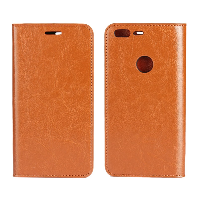 Crazy Horse Genuine Leather Wallet Flip Case For Google Nexus 6P/Pixel/Pixel XL