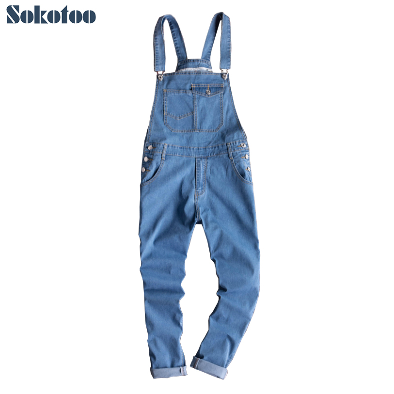 Sokotoo Men's blue light weight denim bib overalls Korean style slim fit suspenders jumpsuits Tapered pencil   jeans