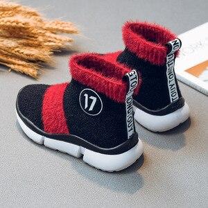 Image 4 - أحذية أطفال طويلة الرقبة الثلوج الفتيات طفل أحذية الأطفال أحذية للبنات طفل أحذية مضادة للماء شتاء دافئ القطن جورب الأحذية ل Girs شقة