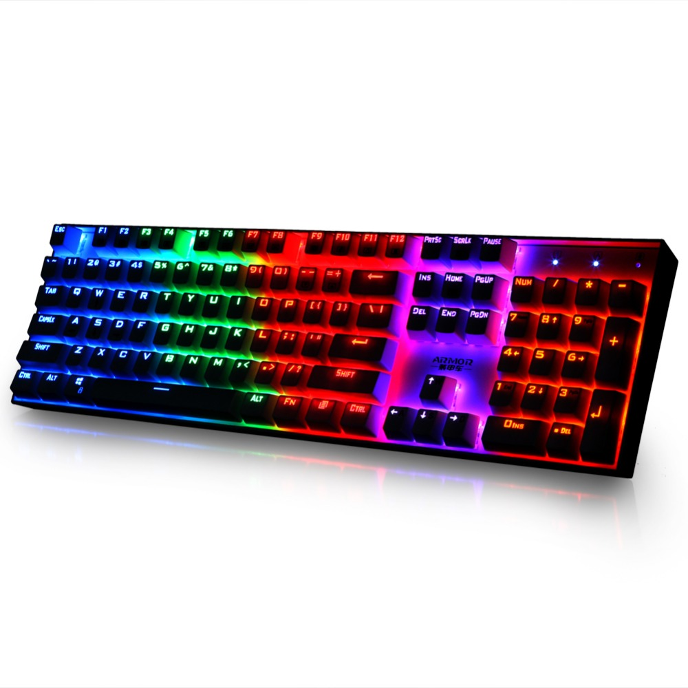 Full-foot 104-keys Corlorful Rainbow Backlit Wired Mechanical Gaming Keyboard with Blue Mechanical Switches rainbow gaming backlight keyboard 87 keys colorful mechanical keyboard with blue black switches desktop for pc laptop