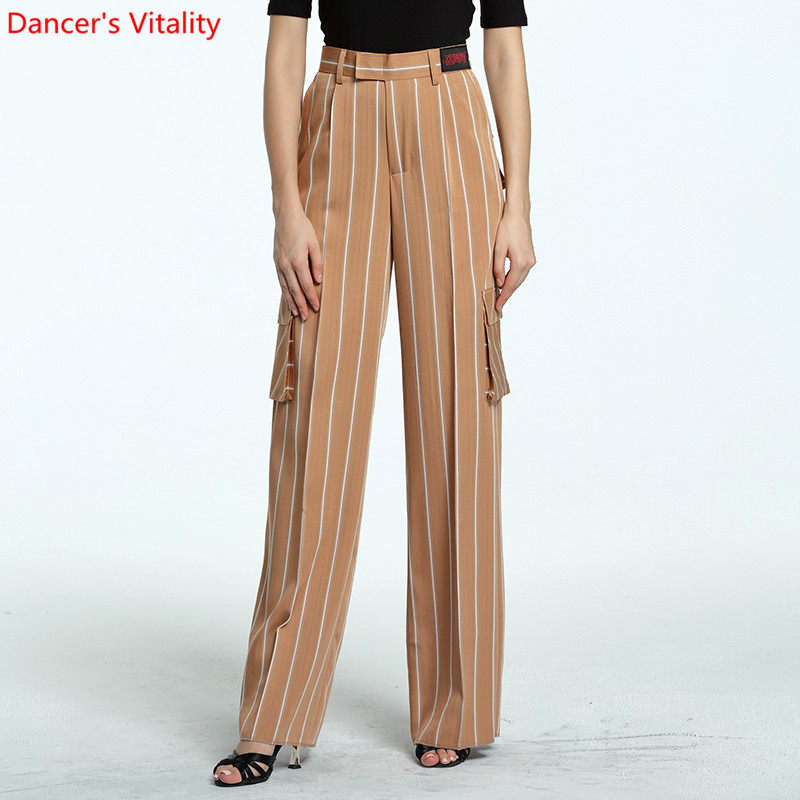 2018 The New Women Side Latin Dance Pants Adult Dance Performance Clothing National Standard Modern Dance Stripe Long Pants