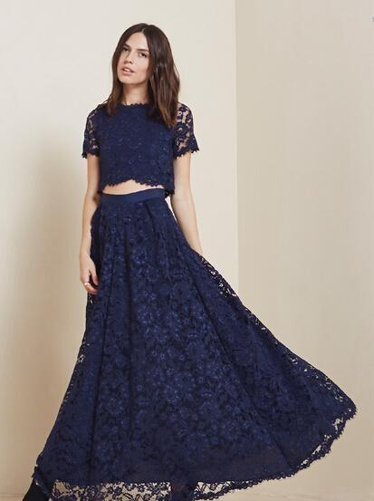 ea68f5817f7 2015 Cheap Lace Two Pieces Prom Dresses Navy Blue Short Sleeves Crew Neck  Elegant Evening Dresses