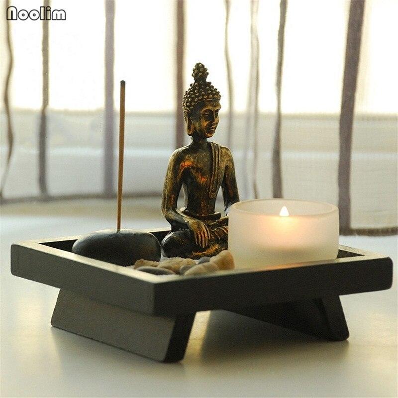 NOOLIM Mini Figurki Z Żywicy Feng Shui Zen Ogród Biura Wystrój Relax  Świecznik Buddyzm Kadzidło Palnika