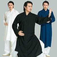 MAN Linen shaolin KUNG FU Wudang tai chi uniforms wushu WING CHUN suits taoist robe clothing Kampfkunst gesetzt