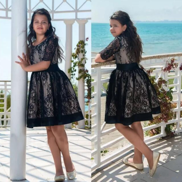 lace flower girl dress black cute girls clothes dresses for teenagers summer ball gown tutu dress fashion simple evening wedding princess dresses lace flower teenagers dresses for girls dress clothes tutu party dress