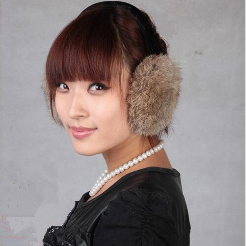 Real Fur Earmuffs Winter Earmuffs Unisex Natural Rabbit Fur Ear Warmer White, Black, Brown,grey Girls Winter Ear Prector.A794
