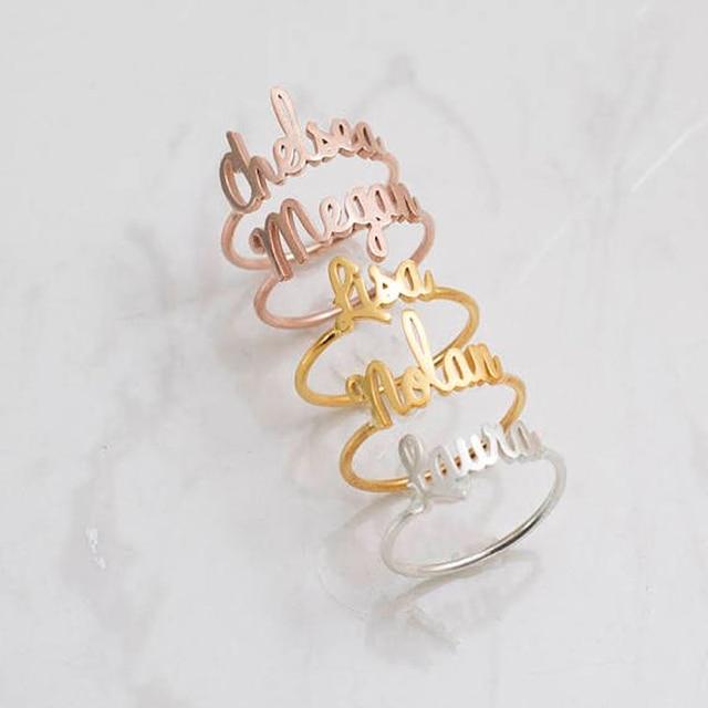 Formato libero Oro Argento Impilabile Personalizzato Anello Nome Personalizzato Per Le Donne Migliori Amici In Acciaio Inox Nozze Regali Di Natale