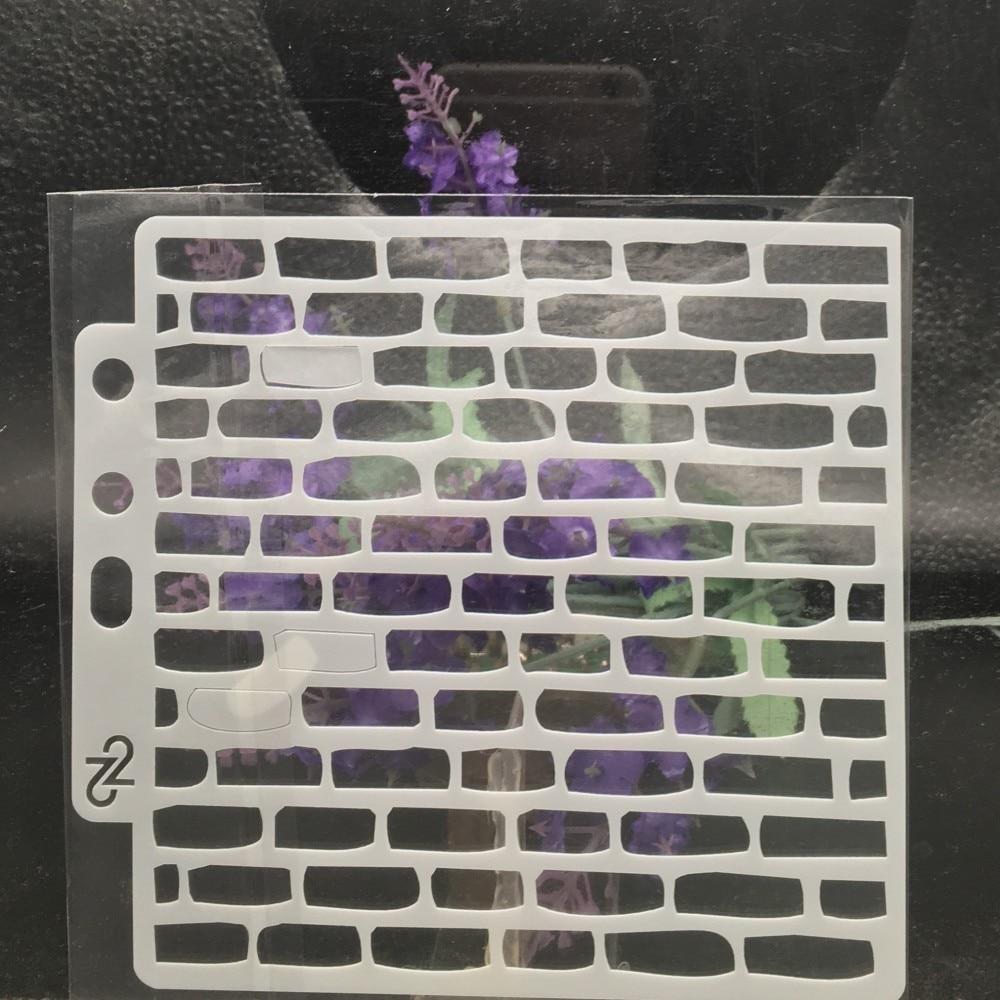 13cm Brick Wall DIY Layering Stencils  Painting Scrapbook Coloring Embossing Album Decorative Card Template S18