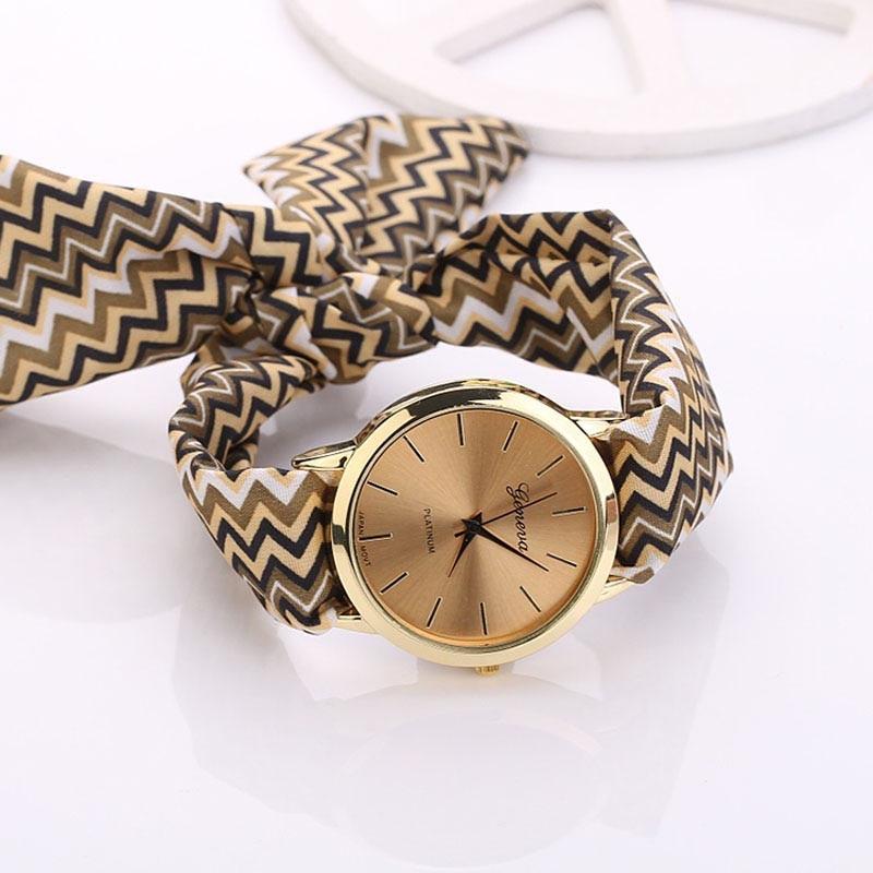 Splendid Fashion Bracelet Women Aztec Tribal Floral Cloth Quartz Dial Wristwatch Watch Relojes Mujer
