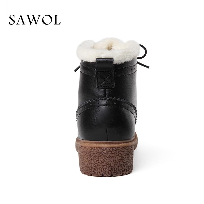Marque Haute En Cuir forme Plate Peluche Chaud Qualité brown Avec Chaussures Black Sawol Bottes D'hiver Femmes Cheville Split Hiver xCQrthds