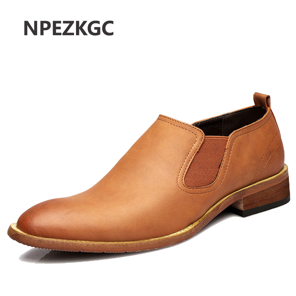 NPEZKGC 2018 Fashion Brand Men s Business Dress Brogue Shoes For Wedding Party Retro Leather Black