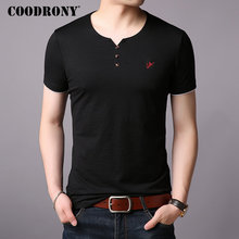COODRONY T Shirt Men Short Sleeve T-Shirt Summer Streetwear Casual Mens T-Shirts Henry Collar Cotton Tee homme S95002