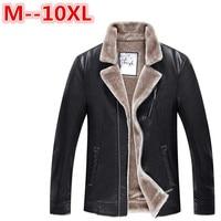 plus size 10XL 8XL 6XL 5XL Winter Men's Genuine Leather Jackets Brand Brown Sheepskin Jacket and Coats with Fur Wool Collar Warm