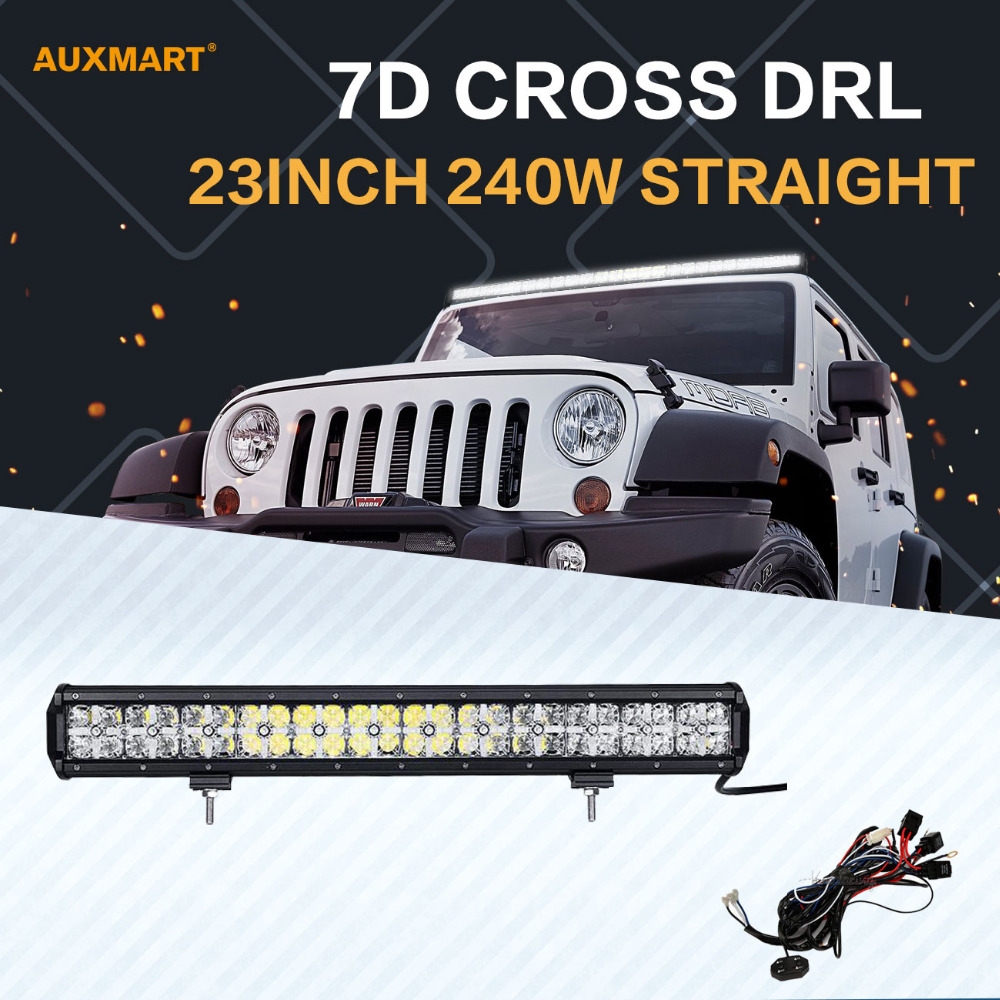 Auxmart 7D 23 240W LED Light Bar Cree Chips Spot Flood Beam DRL Offroad LED Bar for SUV ATV 4x4 4WD Truck Trailer Pickup 12 24v стоимость