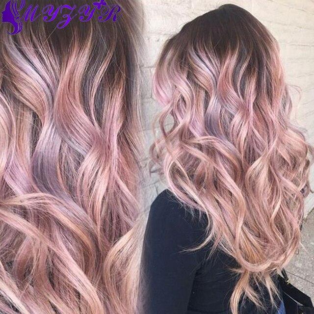 Pink Rose Gold Virgin Hair 3 Bundles Dark Roots Milky Way Hair