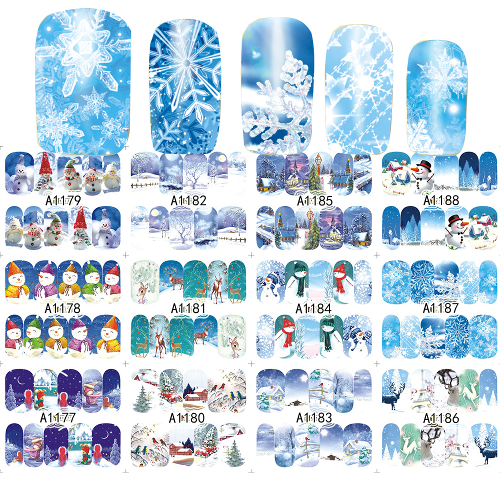 12 Designs/set  Merry Christmas Snowman Water Sticker Nail Art Tips Beauty Full Cover Nails Foils Xmas Gift SAA1177-1188 120 15sheets 4 designs lovely christmas gift sticker party favor decoration labels packing seals