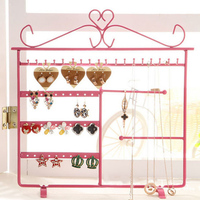 Wrought Iron Wall Mounted Earrings Display Shelf Stand Rack Jewelry Necklace Holder Fashion Pendant Hanger Storage