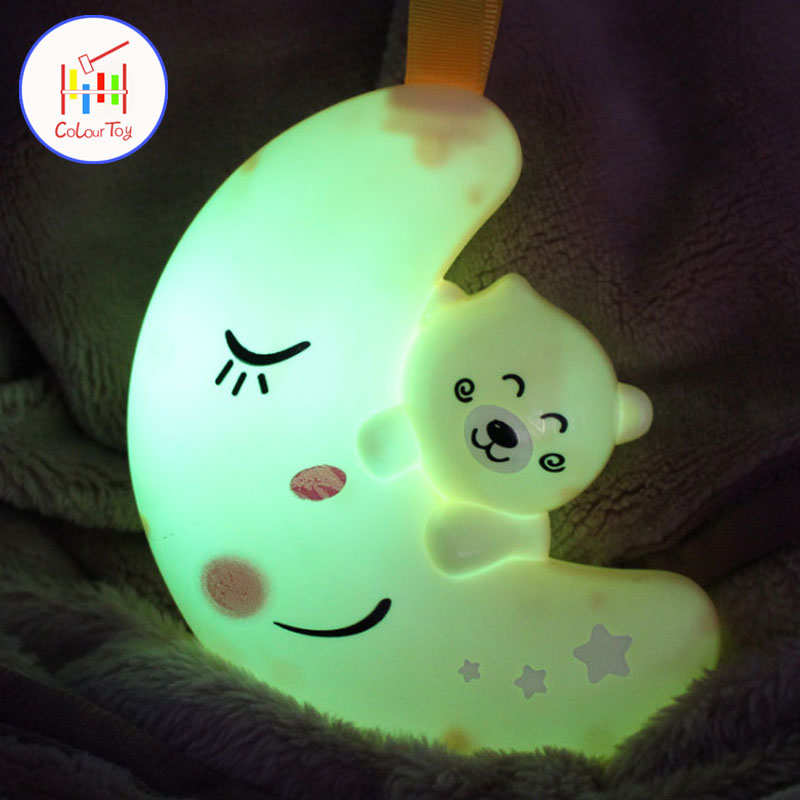 TOEPAK Cute LED Night Light Children Moon Colors Changing Silicone Soft Cartoon Baby Nursery Lamp Breathing Bedroom Decor Gift