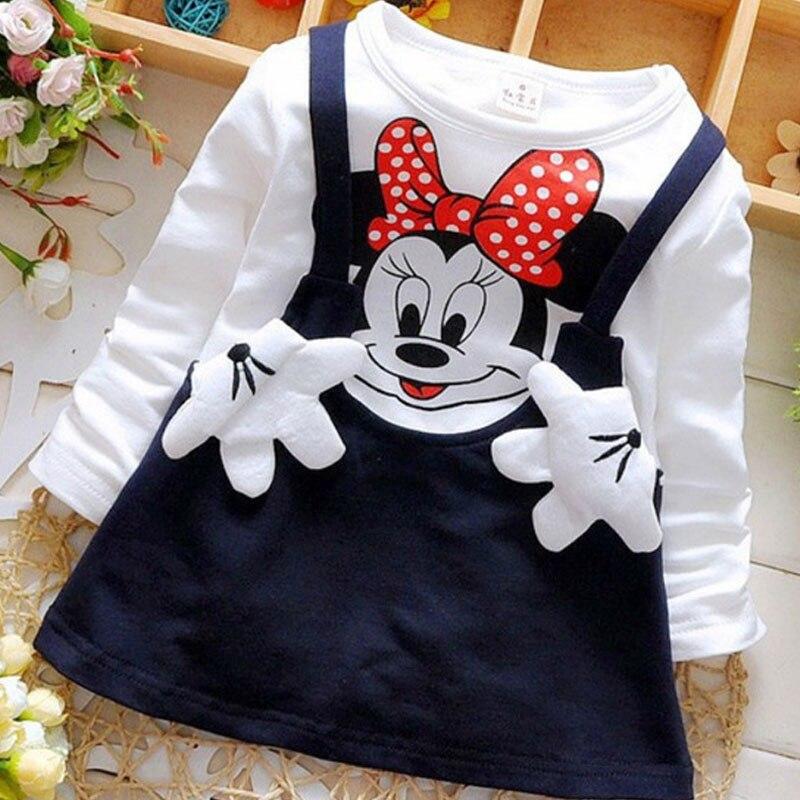 UK Kids Girls Cotton Casual Dress Long Sleeves Cat Print Cartoon Dresses Clothes