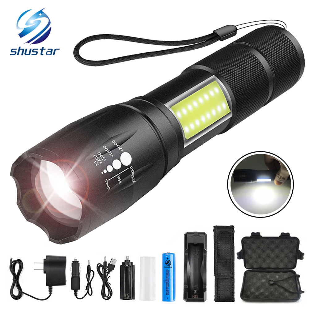 LED Flashlight CREE XML-T6/L2 8000 lumen flashlight torch Side COB work light design Zoomable 4 modes flashlight use 1 x 18650 zoomable tactical 4000 lumen 5 modes cree xml t6 led torch lamp light 18650 noj06