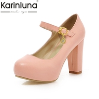 2015 New Brand Candy Colors Nude Pumps Buckle Round Toe Hidden Platform Women Shoes Thick High
