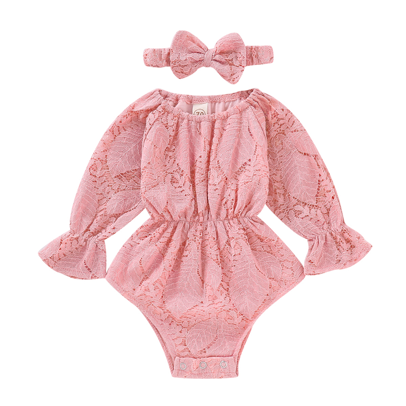 818c33cfd65b 2Pcs Newborn Infant Baby Girl Flower Lace Off Shoulder Romper Jumpsuit  Headband Long slevee SOutfit Clothes Newborn Baby Girl