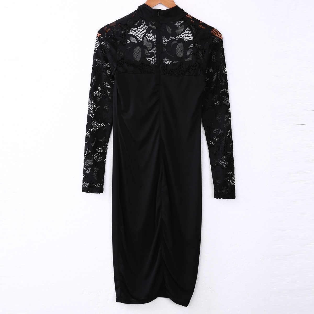 נשים שחור תחרה סתיו שמלת גבירותיי שלושה רבעון עיפרון לעטוף סלבריטאים אלגנטי Midi Bodycon המפלגה תחבושת שמלות בתוספת גודל