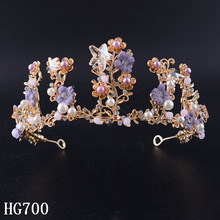 Snuoy White Pearl Crystal Bridal Hairbands Tiaras Colorful Flowers Rhinestone Crown Hair Accessories Wedding Jewelry Gifts HG700