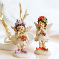 Flower fairy angel resin crafts furnishings home decoration old girl elf ornaments children girl's birthday gift cute figurine