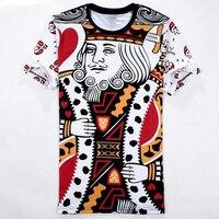 مضحك 3d بوكر مطبوعة القمصان الطالبات لعب الورق الملك نمط الهيب هوب تي شيرت الجرافيك تيز الرجال قمم المتناثرة الملابس