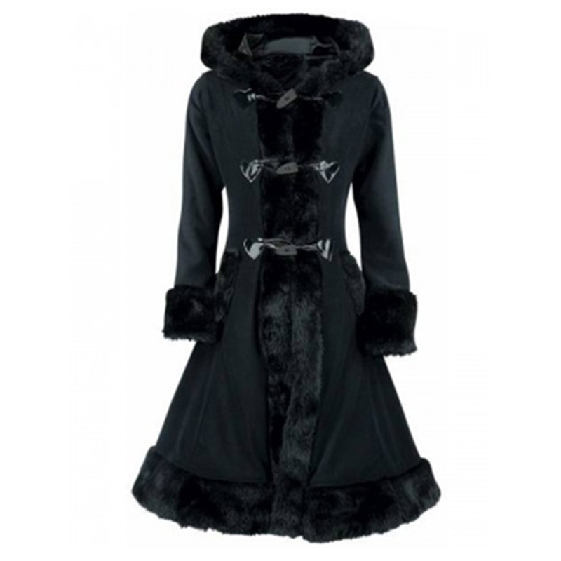 Sisjuly Gothic Black Faux Fur Hooded Parka Coat  Autumn Winter Lace Up Buttons Padded Coat Long Slim Overcoat Women Thick Jacket