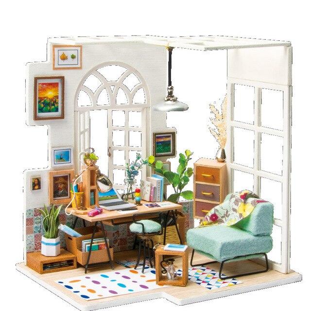 Home Decor Diy Wood House Miniatura Craft With Furniture Home