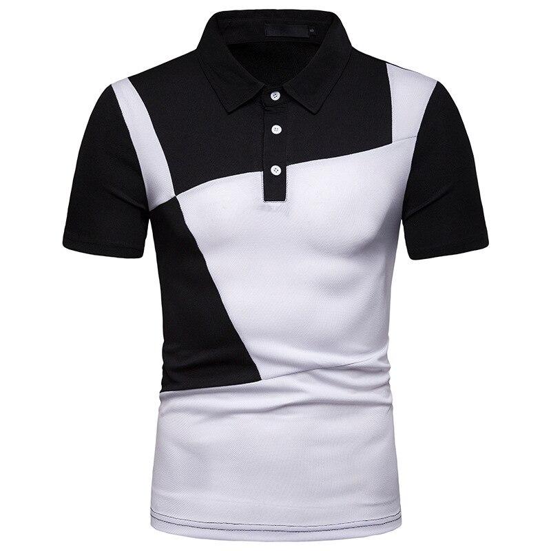 Polo   Shirt Men 2019 Summer Fashion Contrast Color Half Sleeve Tees Cotton Breathable Camisa   Polo   Elastic Casual   Polos   XXL