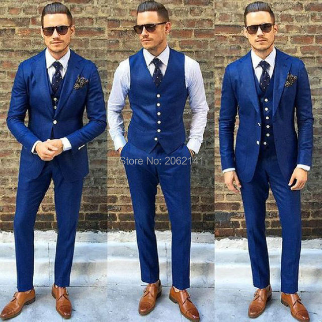2016 Hot Sale Navy Blue Men Suit Custom Made Wedding Suit for Men ...