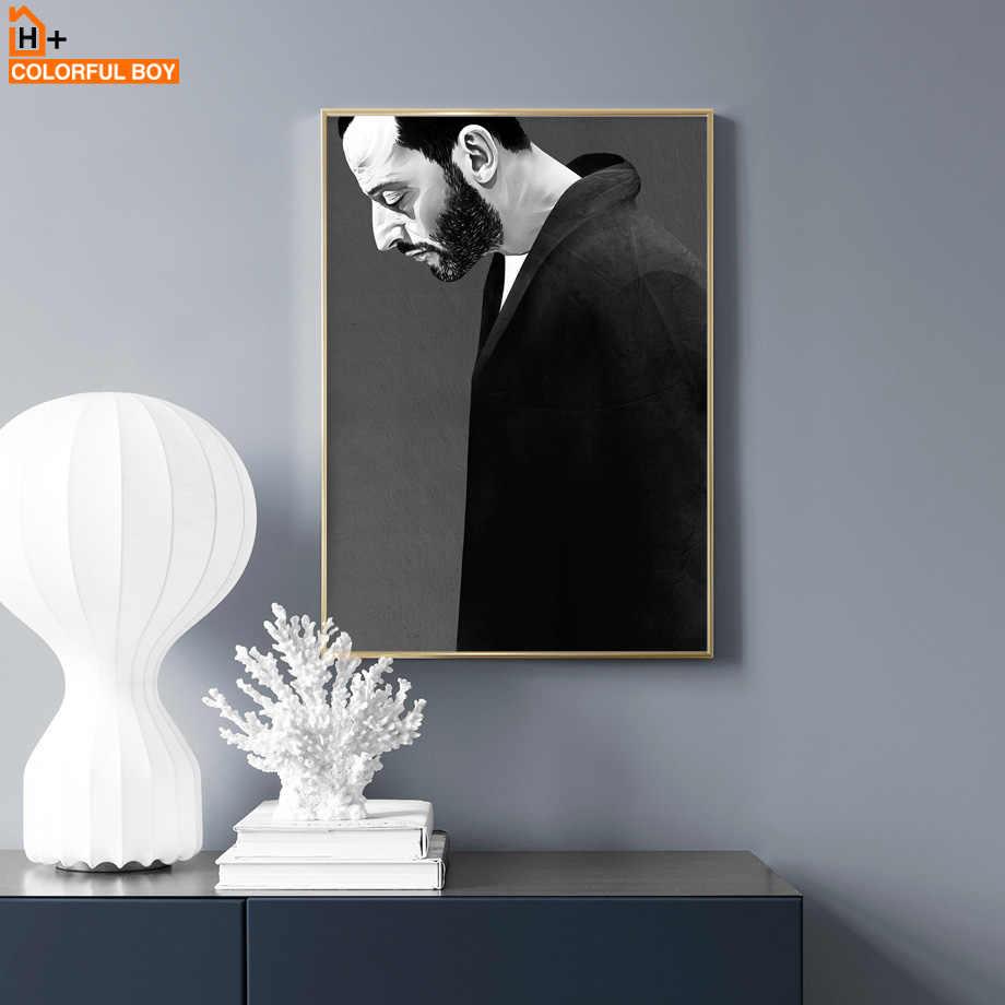 قماش الفن طباعة طلاء جدران ليون المهنية أسود أبيض الفيلم الملصقات والمطبوعات الشمال جدار صور لغرفة المعيشة