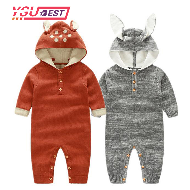 Newborn Baby Rompers Reindeer Ear Hooded Infant Jumpsuit Winter Cartoon Baby Girl Boy Knitted Sweater Rabbit Ears Deer Clothes