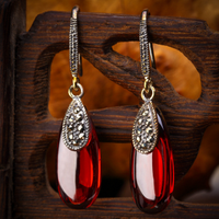 Thailand accessories 925 pure silver red green natural agate drop earrings drop earring