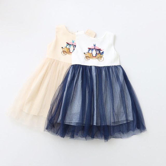 34bc43c77a97 Новые детские Обувь для девочек лето мультфильм шаблон сетки жилет Платья  для женщин, принцесса детей