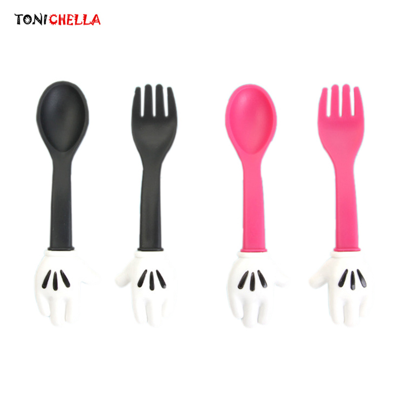 Kids Cute Fork Spoon Mouse Palm  Shape Cutlery Baby Food Feeding Tableware Toddler Dinnerware  Portable Utensil T0523