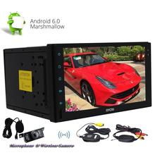 free camera Car DVD 2 din GPS autoradio Android 6.0 1080P video with Microphone map GPS Navigation Bluetooth Stereo Audio Player