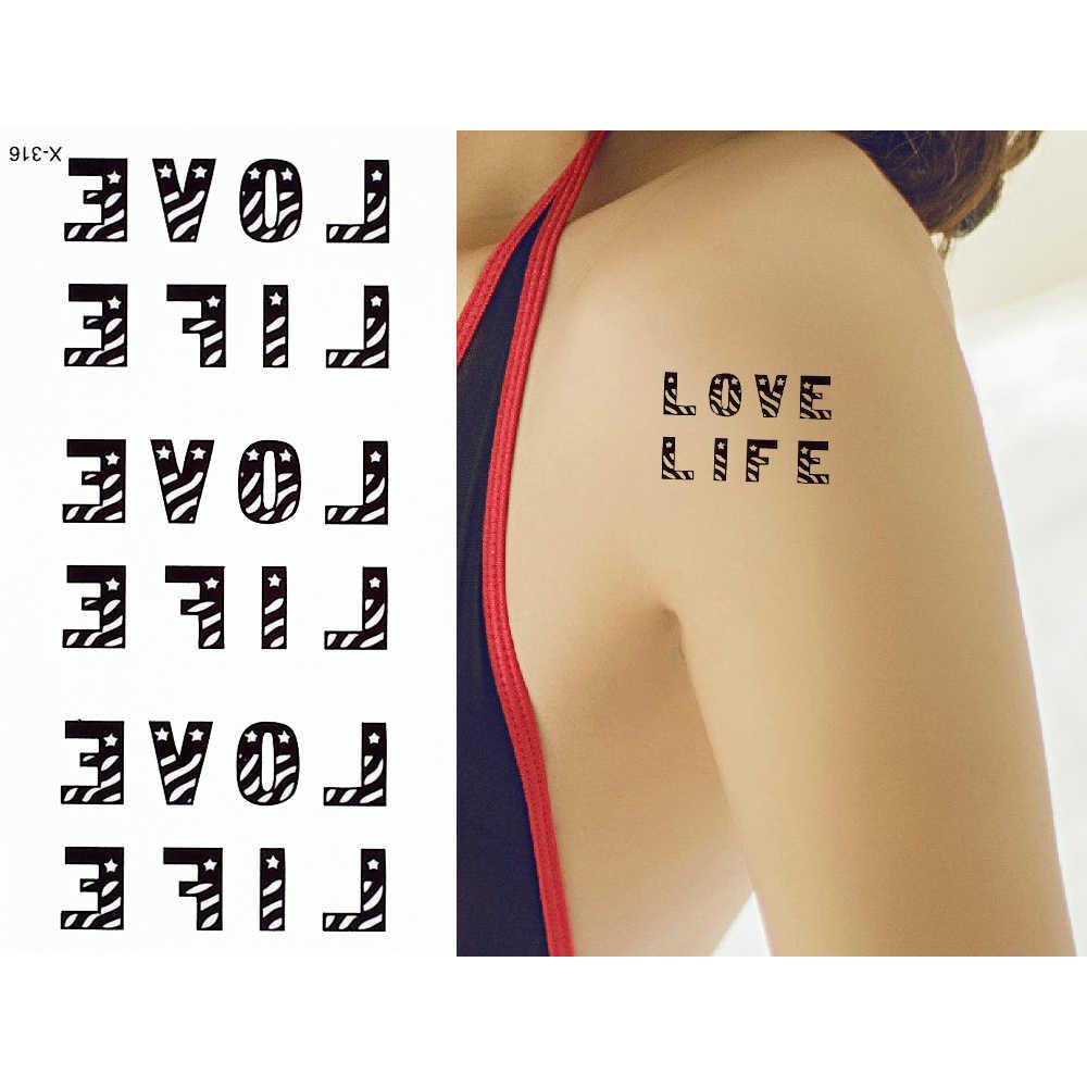 1 шт., черная татуировка для тела, поддельные английские слова, Любовная картинка, временная водостойкая татуировка, наклейка для сексуальных женщин, мужчин, на шею, на грудь, искусство
