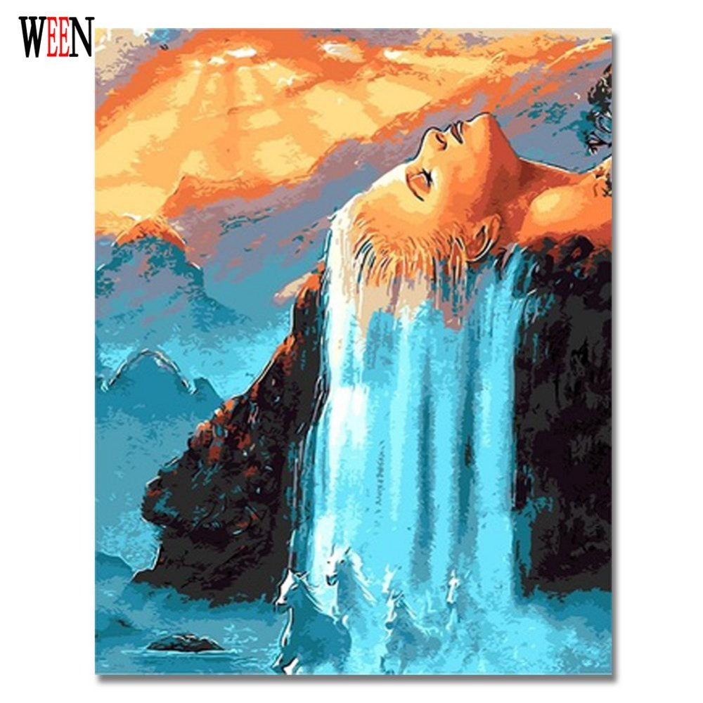 Ween hair waterfall picture by numbers on wall acrylic for How to make canvas painting