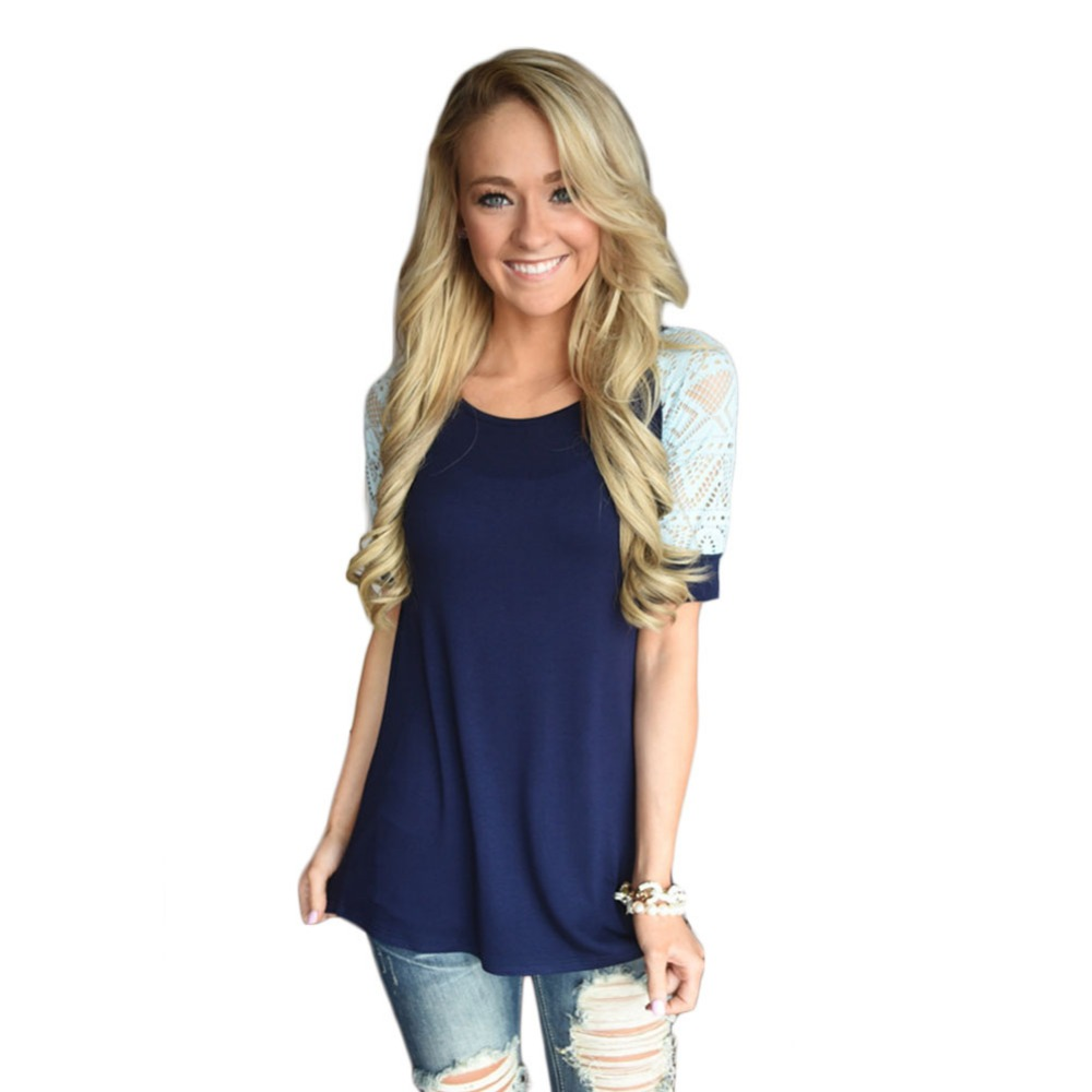 V-ogue Me L-ady Store New Women T Shirt 2017 Sring Summer Casual O neck Short Sleeve Lace Stitching T-shirt Plus Size Tops