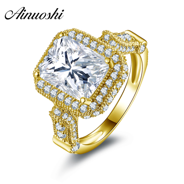 AINUOSHI 10k Solid Yellow Gold Hot Sell Lady Ring Rectangle Cut Simulated Diamond Jewelry for Women Anniversary Birthday Gift